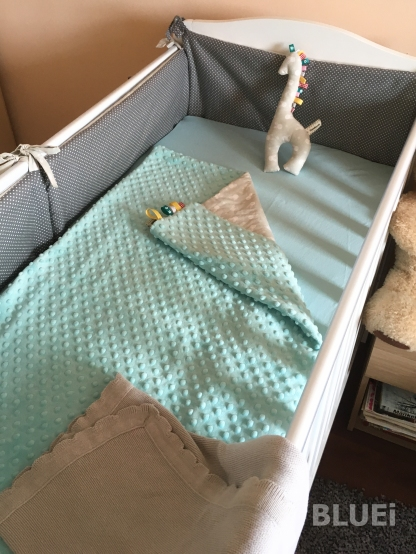 cot bumpers, blanket and toy